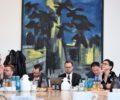 von links nach rechts:  Petra Kleining BFB, Florian Rott GKV Spitzenverband, Julius Lehmann KBV, Jan Hortig Referent Dr. Roy Kühne, René Klinke vdek Bund, Frau Lay Referentin von Dr. Achim Kessler und Dr. Achim Kessler DIE LINKE